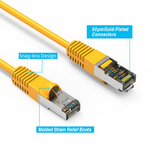 Snagless Boot 5ft Yellow Shielded CAT6 Ethernet Patch Cable Lifetime Warranty