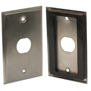 Single Gang Stainless Steel Wallplate with Water Seal