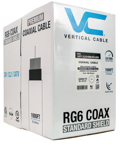 Vertical Cable 1000ft Bulk RG-6 Coax Cable - Standard Shield 60% Braid CL2