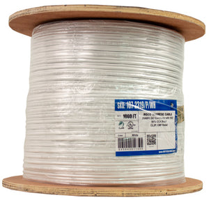 Vertical Cable 107-2319/P/WH RG59 Siamese Coaxial Cable, Plenum, Bare Copper Conductor, 95% CCA Braid, with 18/2 AWG Power