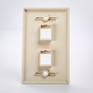 2 Port Keystone Wall Plate Beige Back