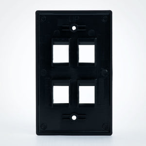 Vertical Cable 304-J2649/4P/BK 4 Port Keystone Plate, Black Image 3