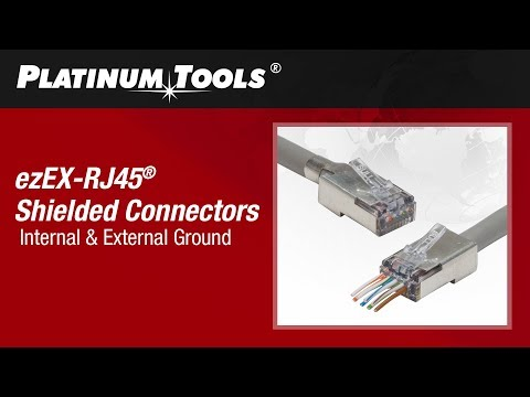 Platinum Tools 202050J ezEX™44 Shielded CAT6 Connector, Internal Ground 50 Pack