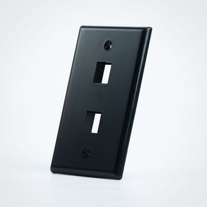 2 Port Black Keystone Wall Plate