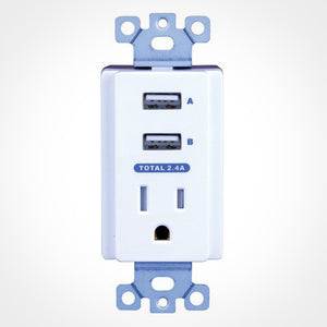 Vanco USBWP5V Dual USB In-Wall Charger with AC Front View