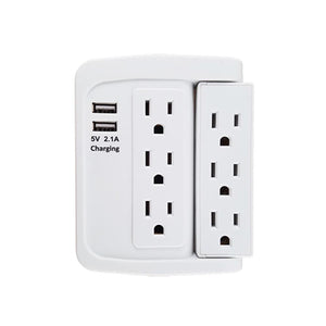 6 Outlet Swivel Wall Tap Adapter w/ 500J Surge Protector and 2 USB Charging Ports (2.1)