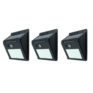 6LED Wallmount Solar Sensor LED Light 1W 120LM, 3pc Set