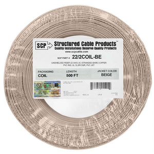 Stranded PVC Coil Pack Security Alarm Cable-500ft Beige
