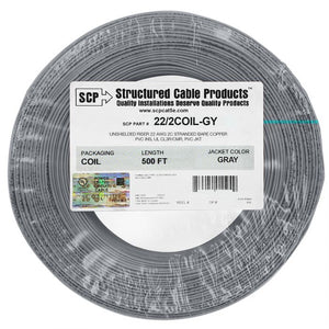 SCP 2C/22 AWG Stranded PVC Coil Pack Security Alarm Cable - 500FT