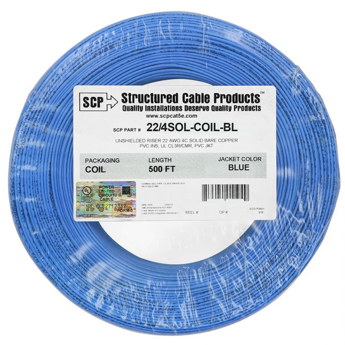 SCP 4C/22 AWG SOLID COPPER PVC COIL PACK Security Alarm Cable - 500 FT