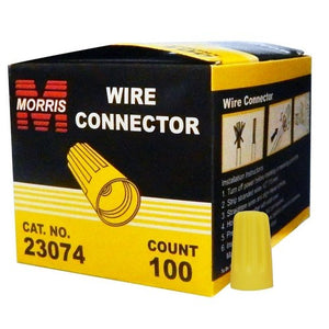 Morris 23074 Screw-On Wire Connectors P4 Yellow Boxed 100 Pack
