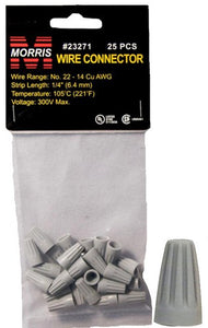 Morris 23271 Screw-On Wire Connectors P1 Gray Hanging Bag 25 Pack