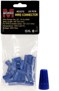 Morris 23272 Screw-On Wire Connectors P2 Blue Hanging Bag 25 Pack