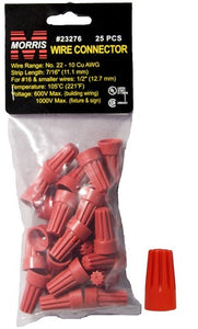 Morris 23276 Screw-On Wire Connectors P6 Red Hanging Bag 25 Pack