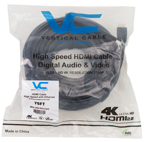 Vertical Cable HDMI 2.0 with Amplifier, Type-A Gold Plated, with Ethernet. 2K/4K – 18Gbps, Ultra HD 2160p (75-100ft)