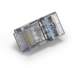 Closeup of ezEX 44 Shielded CAT6 Connector, Internal Ground
