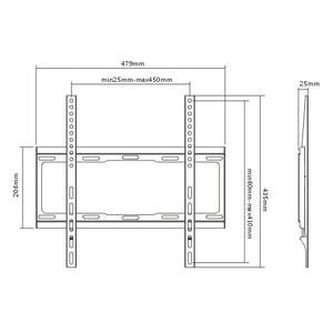 Rhino Brackets Low Profile Fixed TV Wall Mount for 32-55 Inch Screens Diagram