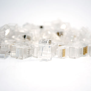 Cat6 RJ45 Connector for 23AWG Round Solid/Stranded Cable - 100pk