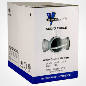 Vertical Cable 500ft 16 Gauge In-Wall Speaker Wire - CL3 16/2, White