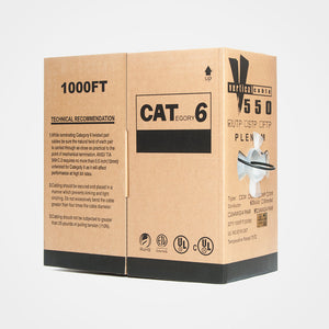 Vertical 1000ft Solid Plenum Cat6 Bulk Cable - FireFold