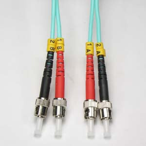 ST-ST Multimode OM3 Duplex 50/125 Aqua Fiber Patch Cable, UL, ROHS