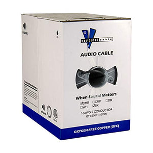 Vertical Cable 500ft 16 Gauge Outdoor Speaker Wire - PVC CL2 16/2, Black