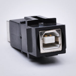 USB Keystone Jack - Type B Female to Female Coupler Front View