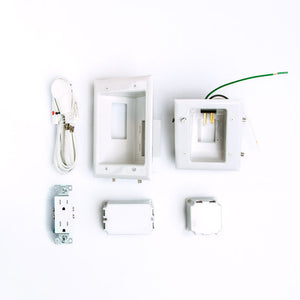 DataComm Recessed Pro-Power Kit w/ Duplex Receptacle and Straight Blade Inlet