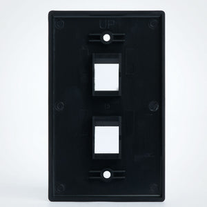 Vertical Cable 304-J2647/2P/BK 2 Port Keystone Plate, Black Image 3