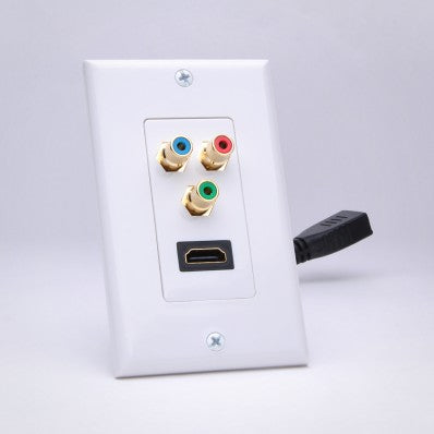 Slim Line Standard HDMI Pigtail and RGB Component Video Decor Wall Plate