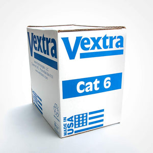 Vextra 1000ft Solid CMR Cat6 Cable - 550MHz 23AWG USA Made, ETL Listed