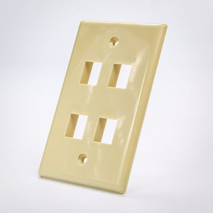 4 Port Beige Keystone Wall Plate