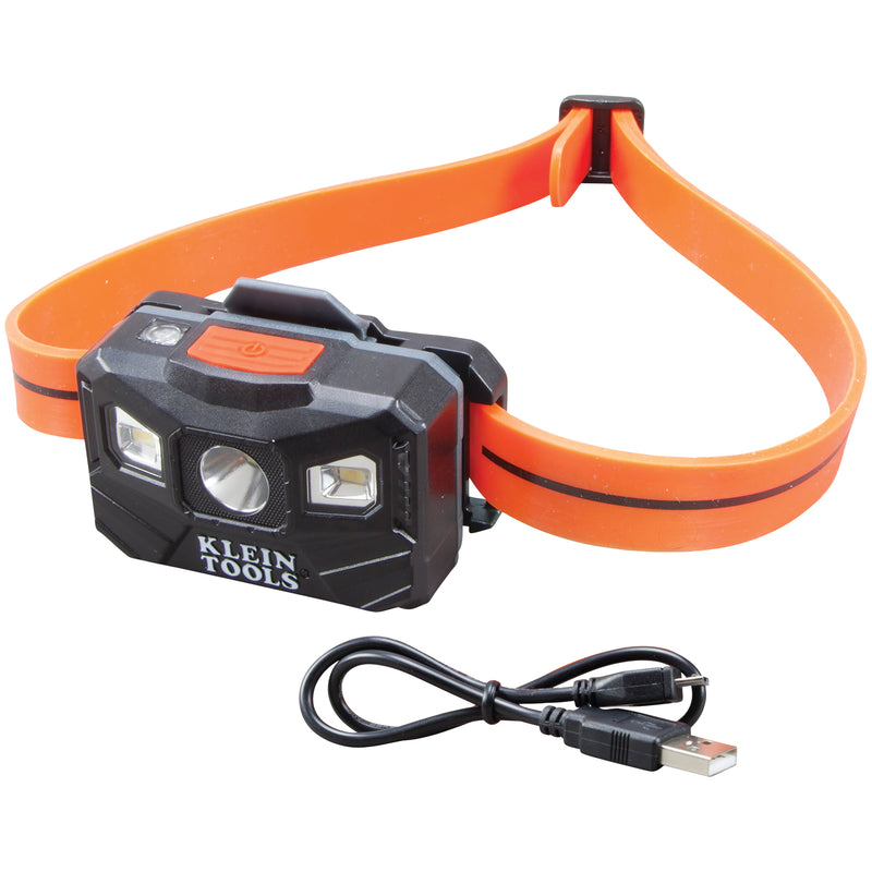 Klein Tools Rechargeable Headlamp w/Silicone Strap, 400 lm, All-Day Run, Auto-Off