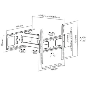 Rhino Brackets Articulating Curved and Flat Panel TV Wall Mount for 32-55 Inch Screens Diagram
