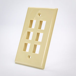 6 Port Beige Keystone Wall Plate