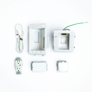 DataComm Recessed Pro-Power Kit w/ Duplex Surge Suppressor and Straight Blade Inlet