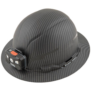Klein Tools Hard Hat, Premium KARBN, Non-Vented Full Brim, Class E with Headlamp