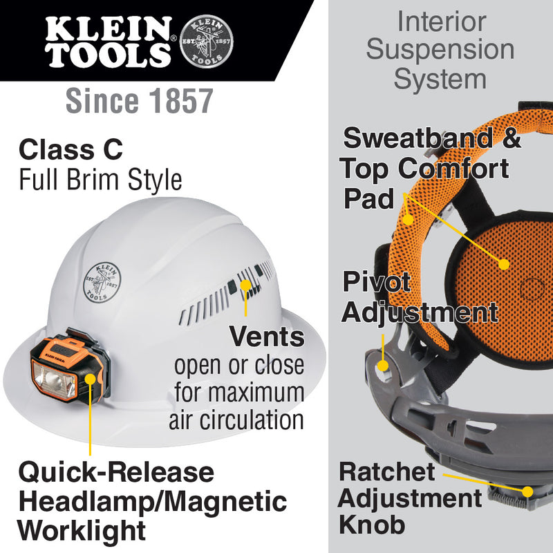 Klein Tools Hard Hat, Vented, Full Brim with Headlamp, 60407