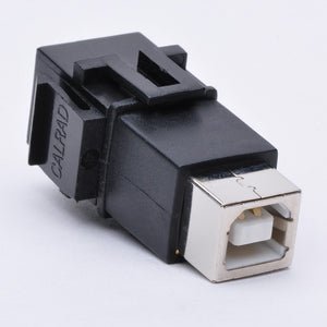 USB Keystone Jack - Type B Female to Female Coupler Side View