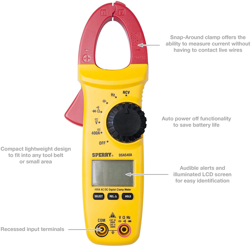 Sperry Instruments Clamp Meter, Snap-Around, Digital LCD, 10-Funct AC/DC Current and Volt, Resist, Continuity, Auto Range, 400-Amp, 1 Each, DSA540A