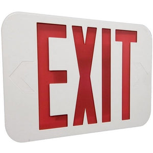 Morris LED Exit Sign Red LED White Housing