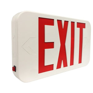 Morris LED Exit Sign Red LED White Housing Battery Backup