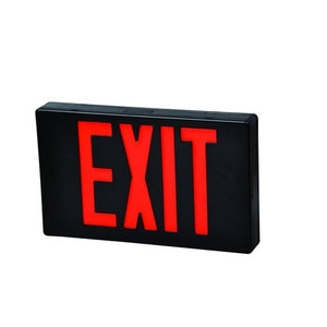 Morris LED Exit Sign Red LED Black Housing Battery Backup