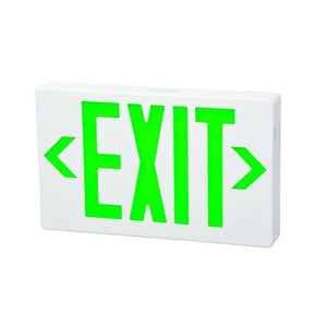 Morris LED Exit Sign Green LED White Housing