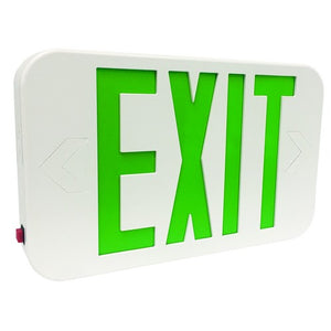 Morris LED Exit Sign Green LED White Housing Battery Backup