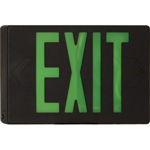 Morris LED Exit Sign Green LED Black Housing Battery Backup