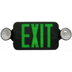 Morris Round Head LED Combo Exit Emergency Light  Green LED Black Housing