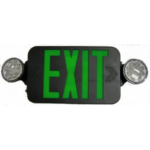 Morris Round Head LED Combo Exit Emergency Light High Output Remote Capable Green LED Black Housing