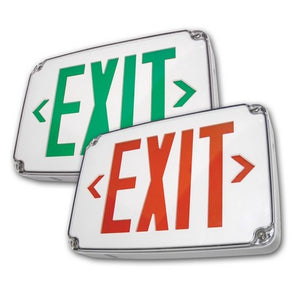 Morris Compact Cold Weather & Wet Location LED Exit Sign Battery Backup Red LED White Housing