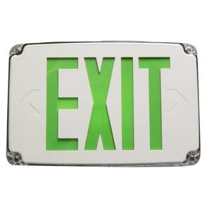Morris Compact Cold Weather & Wet Location LED Exit Sign Battery Backup Green LED White Housing